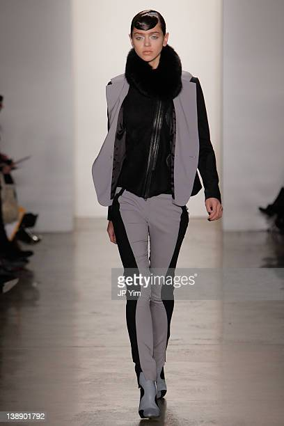 Model walks the runway at the Ohne Titel Fall 2012 fashion show during Mercedes-Benz Fashion Week at Milk Studios on February 13, 2012 in New York...