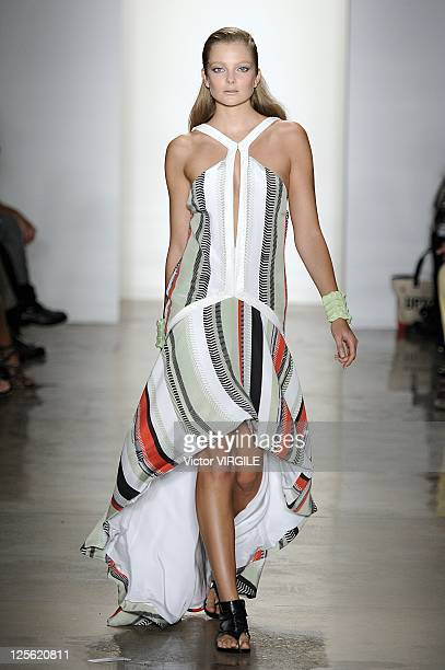 Model walks the runway at the Ohne Titel Spring 2012 fashion show during Mercedes-Benz Fashion Week at Milk Studios on September 12, 2011 in New York...