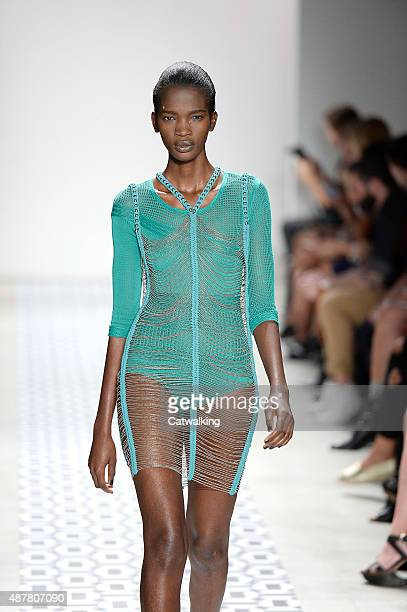 A model walks the runway at the Ohne Titel Spring Summer 2016 fashion show during New York Fashion Week on September 10 2015 in New York United States