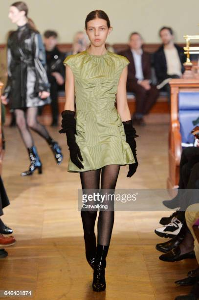 Model walks the runway at the Olivier Theyskens Autumn Winter 2017 fashion show during Paris Fashion Week on February 28, 2017 in Paris, France.