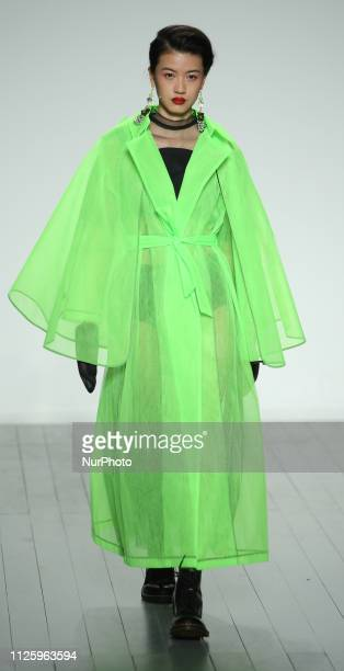 A model walks the runway at the On Off Presents show during London Fashion Week February 2019 at the BFC show space on February 19 2019 in London...