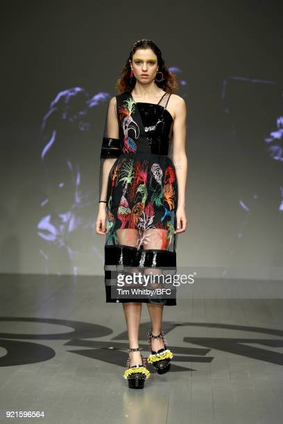 A model walks the runway at the On|Off Presents Honest Man show during London Fashion Week February 2018 at BFC Show Space on February 20 2018 in...