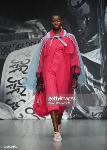 A model walks the runway at the On|Off show during London Fashion Week September 2018 at the BFC Show Space on September 18 2018 in London England