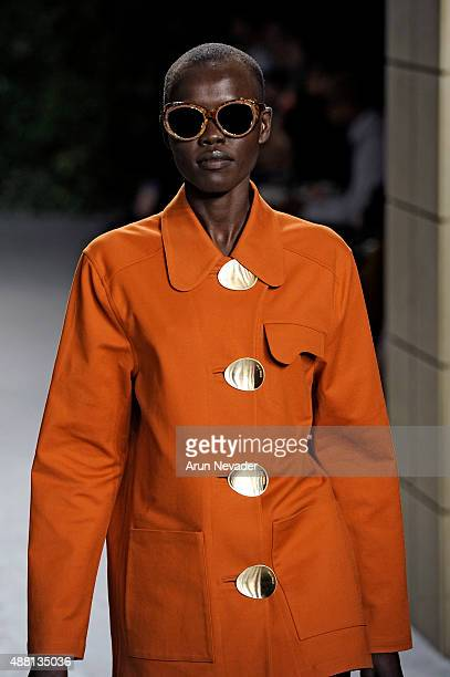 A model walks the runway at the Opening Ceremony Spring 2016 fashion show during New York Fashion Week at 25 Wall Street on September 13 2015 in New...