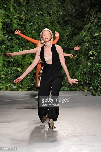 A model walks the runway at the Opening Ceremony Spring Summer 2016 fashion show during the New York Fashion Week on September 13 2015 in New York...