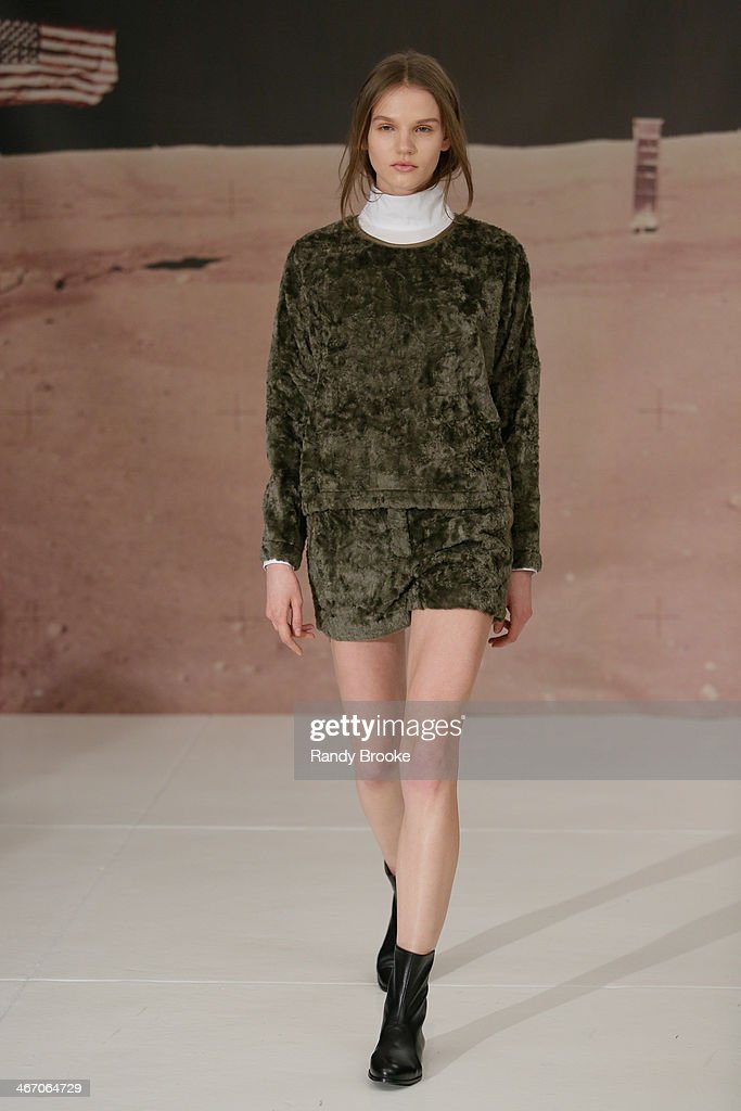 A model walks the runway at the Organic By John Patrick show during Mercedes-Benz Fashion Week Fall 2014 at 245 West 29th Street on February 5, 2014 in New York City.