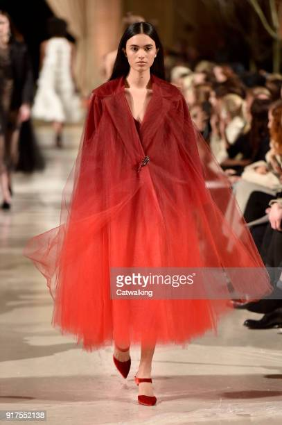 A model walks the runway at the Oscar de la Renta Autumn Winter 2018 fashion show during New York Fashion Week on February 12 2018 in New York United...