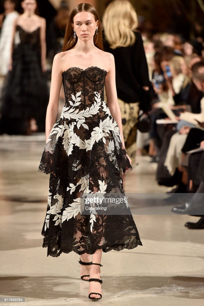 A model walks the runway at the Oscar de la Renta Autumn Winter 2018 fashion show during New York Fashion Week on February 12, 2018 in New York, United States.