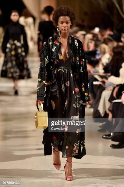 A model walks the runway at the Oscar de la Renta Autumn Winter 2018 fashion show during New York Fashion Week on February 12 2018 in New York United...