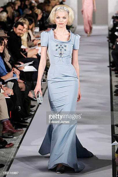 Model walks the runway at the Oscar de la Renta Fall 2012 fashion show during Mercedes-Benz Fashion Week at 11 West 42nd Street on February 14, 2012...
