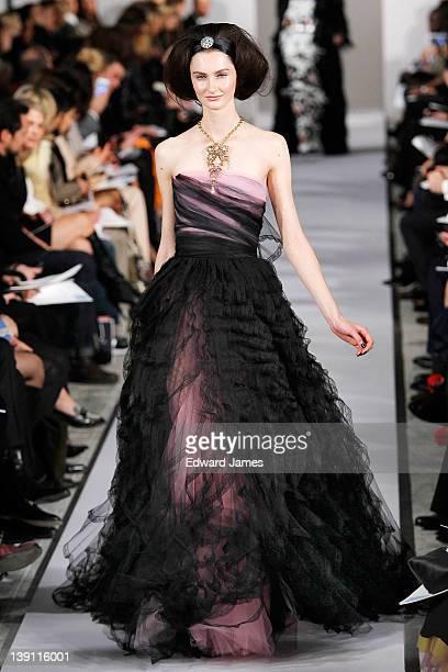 A model walks the runway at the Oscar de la Renta Fall 2012 fashion show during MercedesBenz Fashion Week at 11 West 42nd Street on February 14 2012...