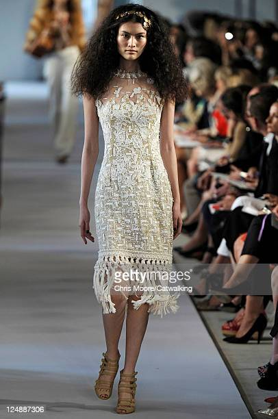 A model walks the runway at the Oscar De La Renta fashion show during New York Fashion Week on September 13 2011 in New York United States