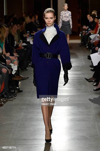 A model walks the runway at the Oscar De La Renta fashion show during MercedesBenz Fashion Week Fall 2015 on February 17 2015 in New York City
