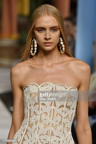 Model walks the runway at the Oscar de la Renta Ready to Wear Spring/Summer 2020 fashion during New York Fashion Week on September 10, 2019 in New...
