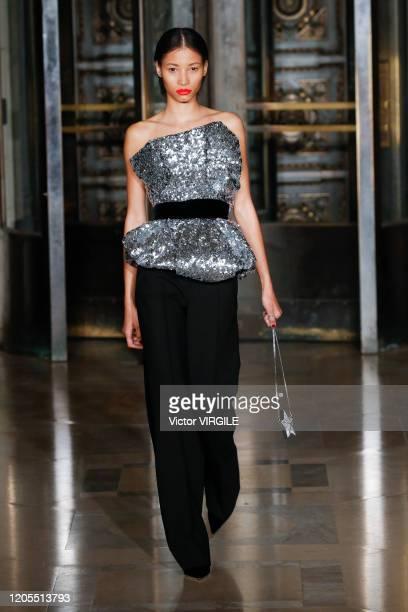 Model walks the runway at the Oscar De La Renta Ready to Wear Fall/Winter 2020-2021 during New York Fashion Week on February 10, 2020 in New York...