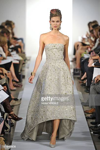 Model walks the runway at the Oscar de la Renta spring 2013 fashion show during Mercedes-Benz Fashion Week, on September 11, 2012 in New York City.