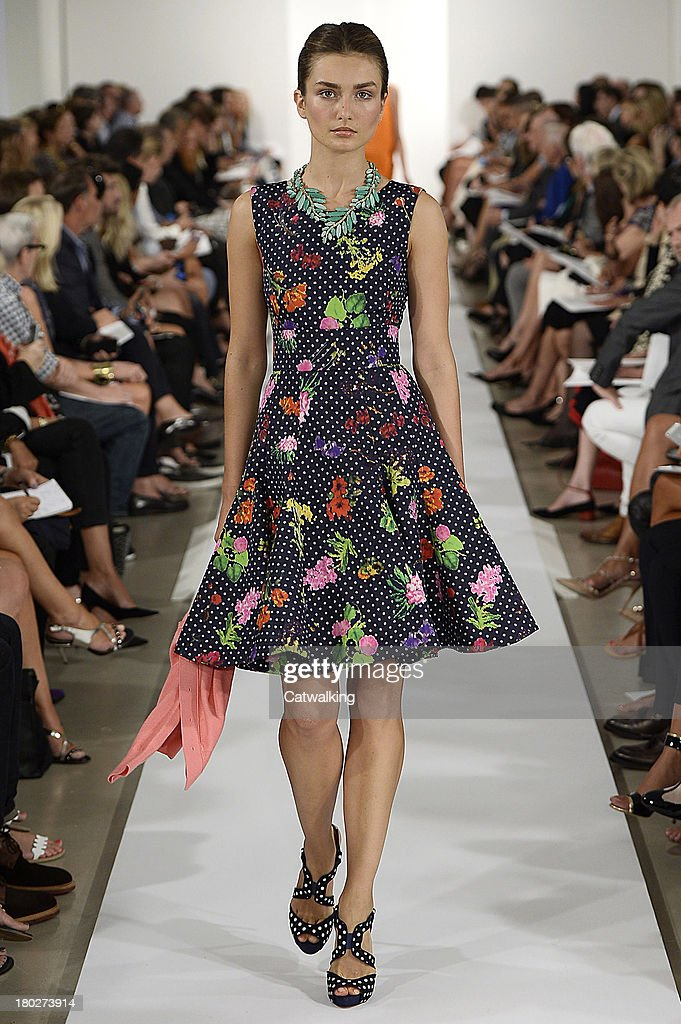 A model walks the runway at the Oscar de la Renta Spring Summer 2014 fashion show during New York Fashion Week on September 10, 2013 in New York, United States.