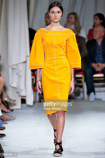 A model walks the runway at the Oscar De La Renta Spring Summer 2016 fashion show during New York Fashion Week on September 15 2015 in New York City