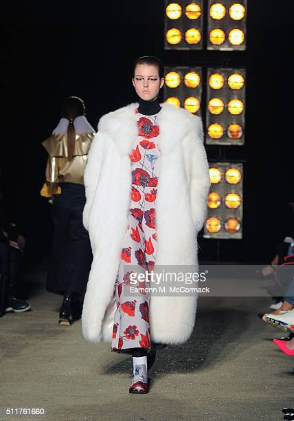 A model walks the runway at the OSMAN show during London Fashion Week Autumn/Winter 2016/17 at The Bankside Vaults on February 22 2016 in London...
