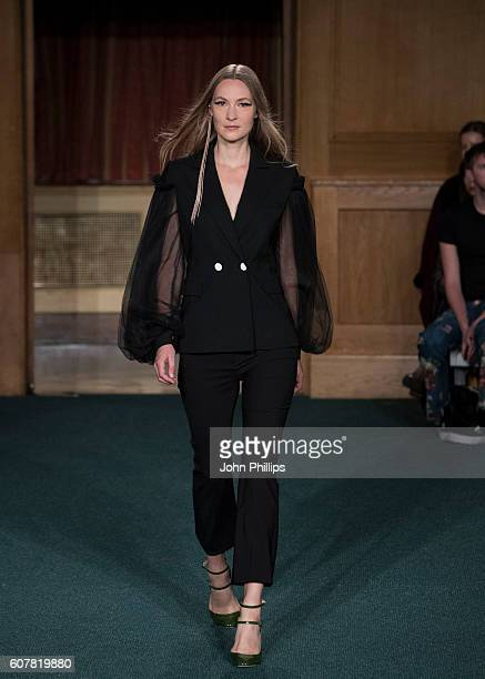Model walks the runway at the OSMAN show during London Fashion Week Spring/Summer collections 2017 on September 19, 2016 in London, United Kingdom.