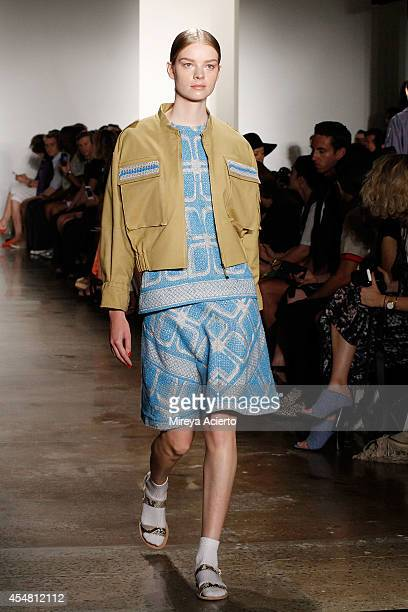 A model walks the runway at the Ostwald Helgason fashion show during MADE Fashion Week Spring 2015 at Milk Studios on September 6 2014 in New York...