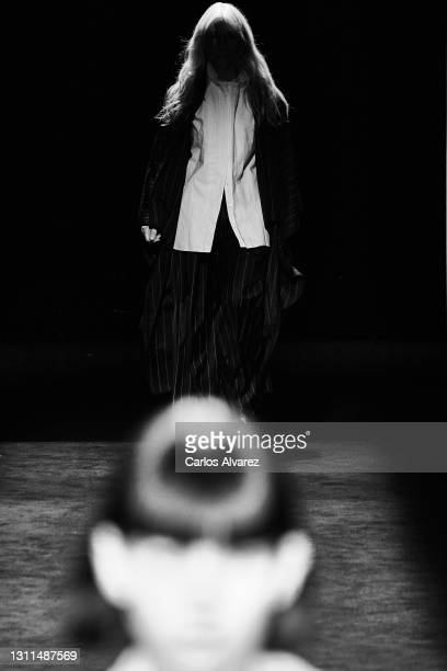 Model walks the runway at the Otrura fashion show during Mercedes Benz Fashion Week Madrid April 2021 at Ifema on April 08, 2021 in Madrid, Spain.
