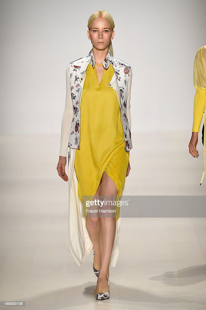 A model walks the runway at the Oudifu fashion show during Mercedes-Benz Fashion Week Spring 2015 at The Salon at Lincoln Center on September 8, 2014 in New York City.