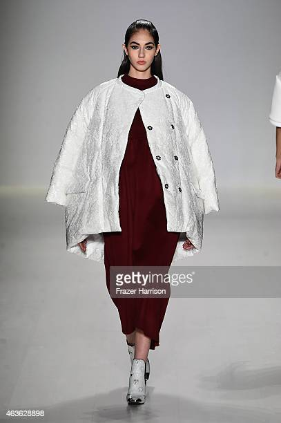 A model walks the runway at the Oudifu fashion show during MercedesBenz Fashion Week Fall 2015 at The Salon at Lincoln Center on February 16 2015 in...