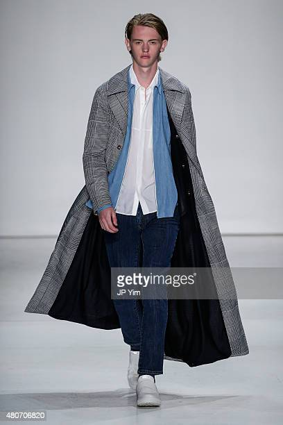 Model walks the runway at the Ovadia & Sons Collection during New York Fashion Week: Men's S/S 2016 at Skylight Clarkson Sq on July 14, 2015 in New...