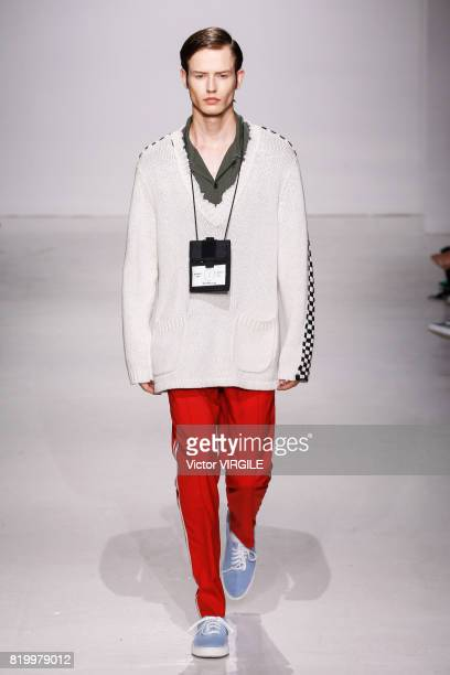 Model walks the runway at the Ovadia & Sons during the NYFW: Men's July 2017 Spring Summer 2018 Collection at Skylight Clarkson Sq on July 12, 2017...