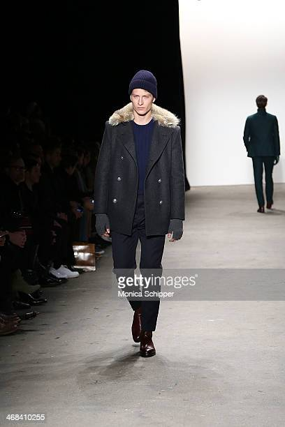 A model walks the runway at the Ovadia Sons fashion show during MercedesBenz Fashion Week Fall 2014 at Eyebeam on February 10 2014 in New York City
