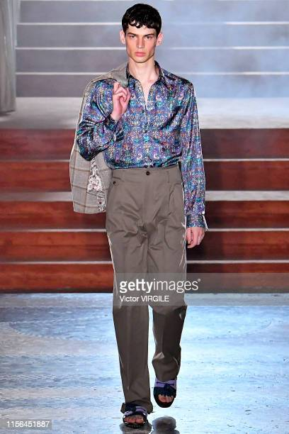 Model walks the runway at the Pal Zileri fashion show during the Milan Men's Fashion Week Spring/Summer 2020 on June 17, 2019 in Milan, Italy.