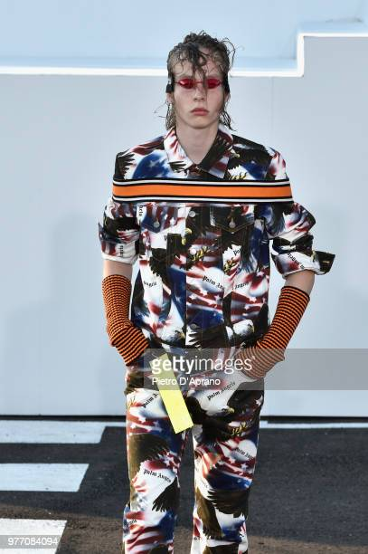 A model walks the runway at the Palm Angels show during Milan Men's Fashion Week Spring/Summer 2019 on June 17 2018 in Milan Italy