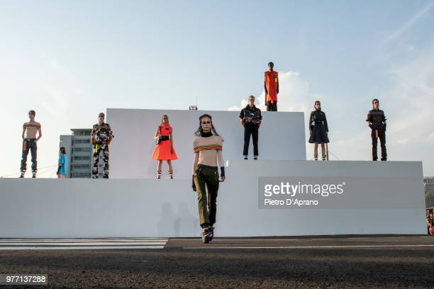 Model walks the runway at the Palm Angels show during Milan Men's Fashion Week Spring/Summer 2019 on June 17, 2018 in Milan, Italy.