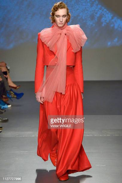 A model walks the runway at the Palomo Spain Ready to Wear Fall/Winter 2019 fashion show during men's New York Fashion Week at Pier 59 Studios on...