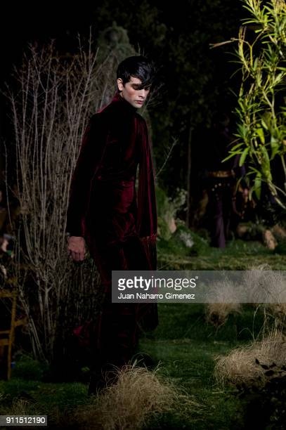 A model walks the runway at the Palomo Spain show during the MercedesBenz Fashion Week Madrid Autumn/Winter 201819 at Ifema on January 28 2018 in...