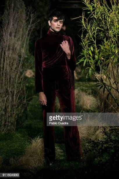A model walks the runway at the Palomo Spain show during the MercedesBenz Madrid Fashion Week Autumn/Winter 2018 at Ifema on January 28 2018 in...