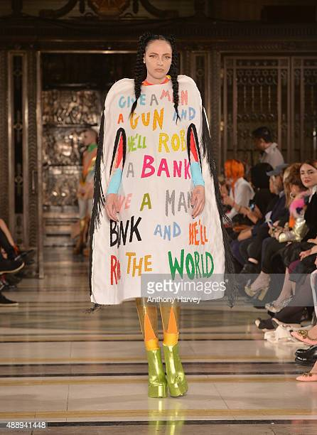 Model walks the runway at the Pam Hogg show at Fashion Scout during London Fashion Week Spring/Summer 2016 on September 18, 2015 in London, England.