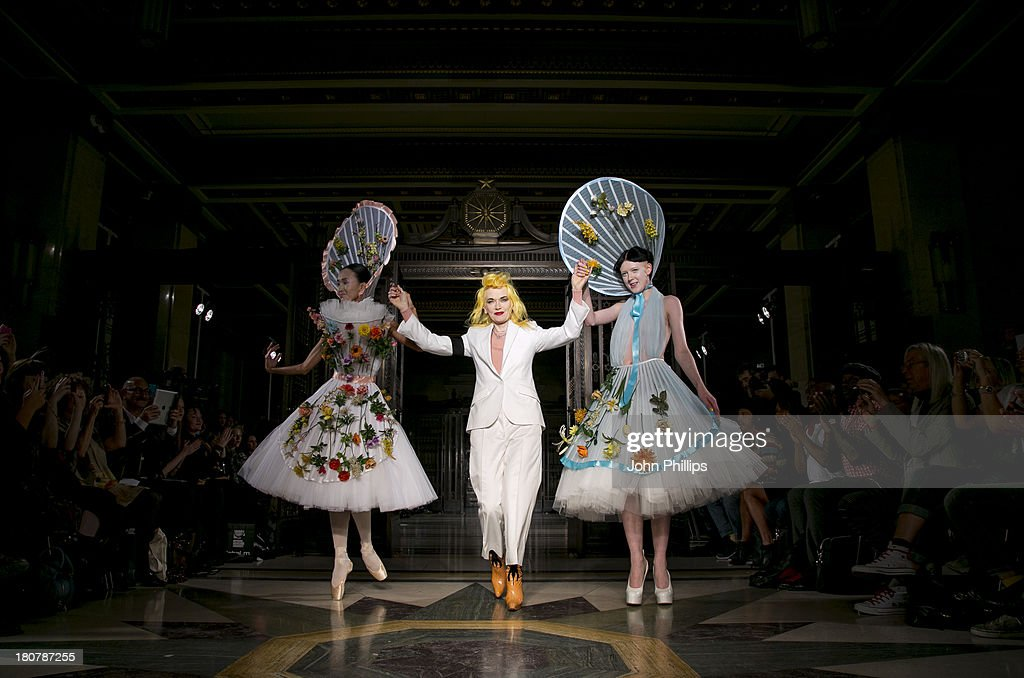 A model walks the runway at the Pam Hogg show during at the Fashion Scout venue during London Fashion Week SS14 at Freemasons Hall on September 16, 2013 in London, England.