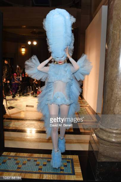A model walks the runway at the Pam Hogg show during London Fashion Week September 2018 at The Freemason's Hall on September 14 2018 in London England