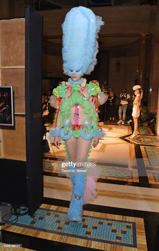 A model walks the runway at the Pam Hogg show during the
