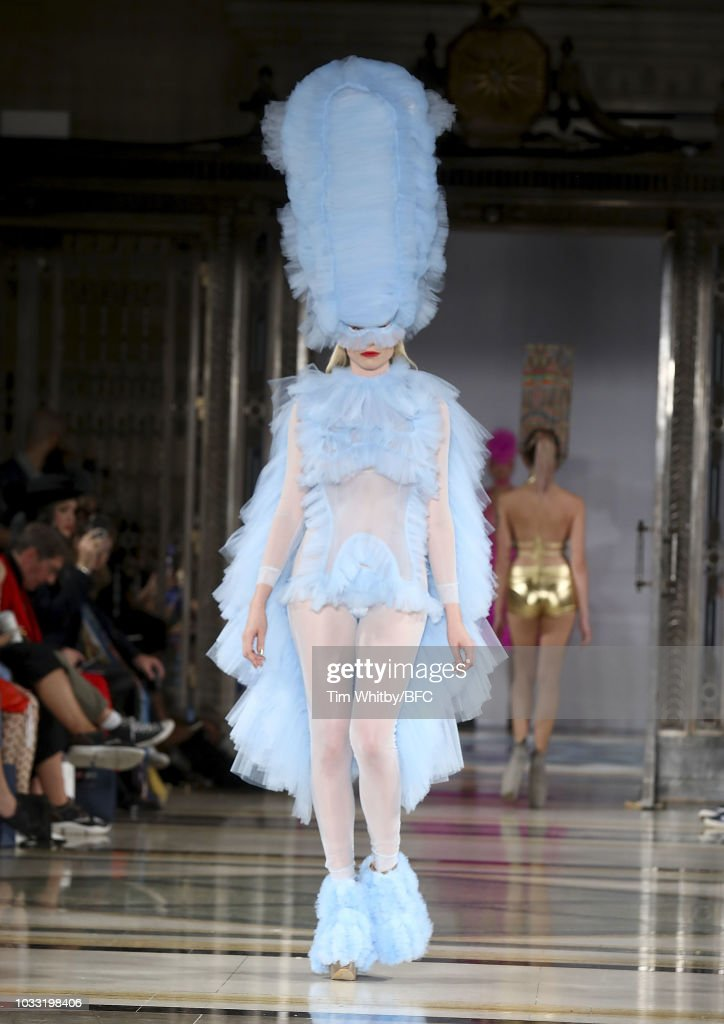 A model walks the runway at the Pam Hogg Show during London Fashion Week September 2018 at Freemasons Hall on September 14, 2018 in London, England.