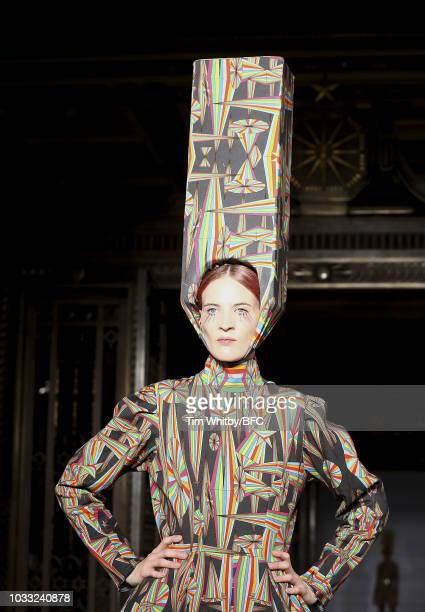 A model walks the runway at the Pam Hogg Show during London Fashion Week September 2018 at Freemasons Hall on September 14 2018 in London England
