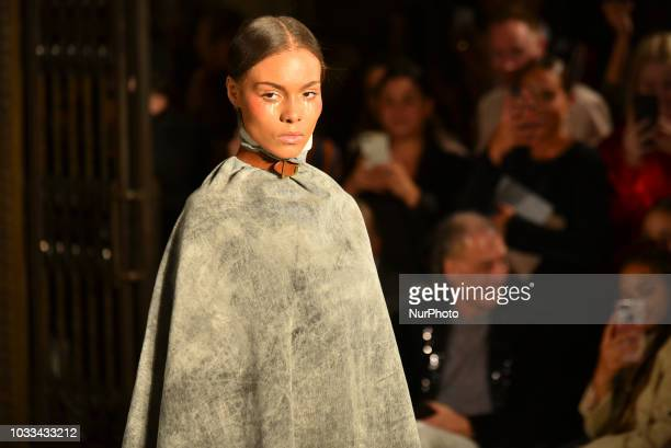 Model walks the runway at the Pam Hogg show during London Fashion Week September 2018 London on September 14 2018