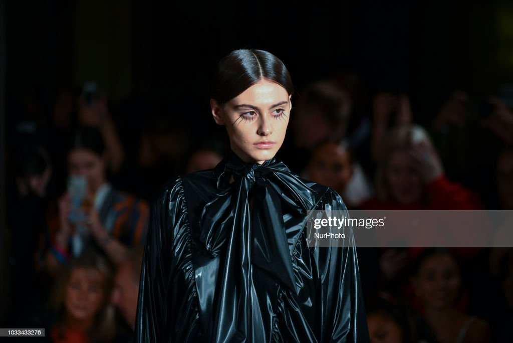 A model walks down the runway at the Pam Hogg show during