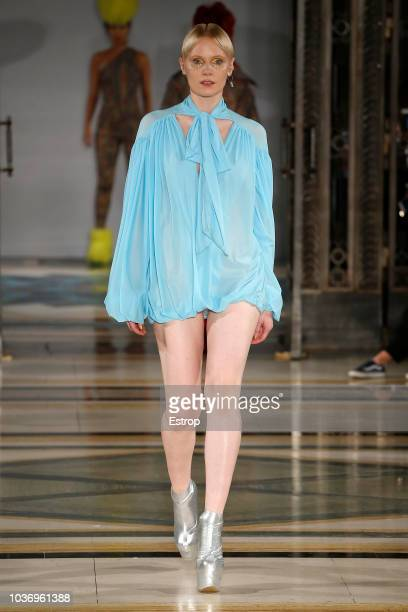 A model walks the runway at the Pam Hogg Show during London Fashion Week September 2018 at XXXX on September 14 2018 in London England