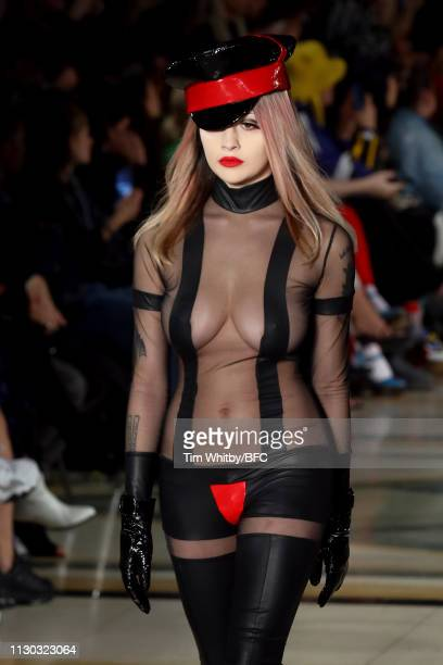 A model walks the runway at the Pam Hogg show during London Fashion Week February 2019 on February 17 2019 in London England