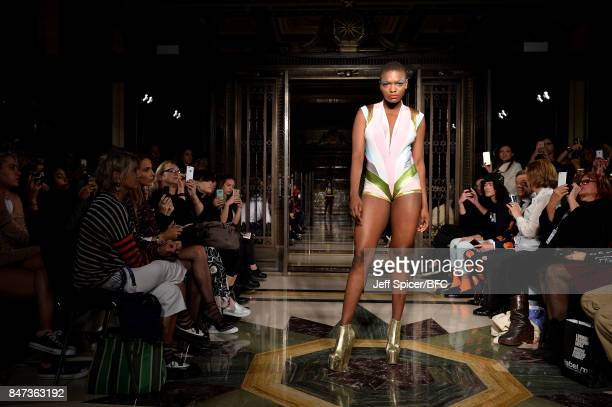 A model walks the runway at the Pam Hogg show during London Fashion Week September 2017 on September 15 2017 in London England