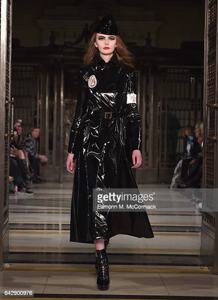 A model walks the runway at the Pam Hogg show during