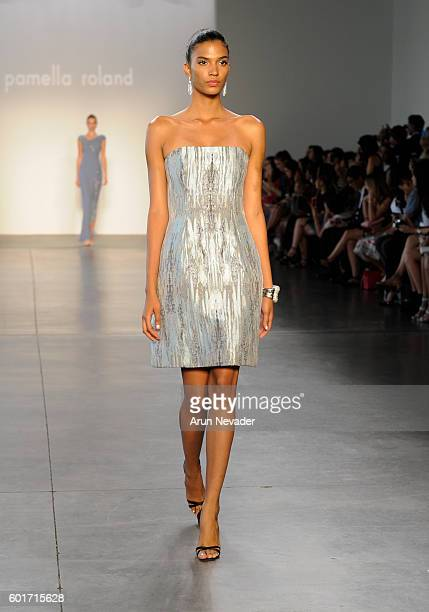 A model walks the runway at the Pamella Roland fashion show during New York Fashion Week September 2016 at Pier 59 on Friday September 9th 2016 in...